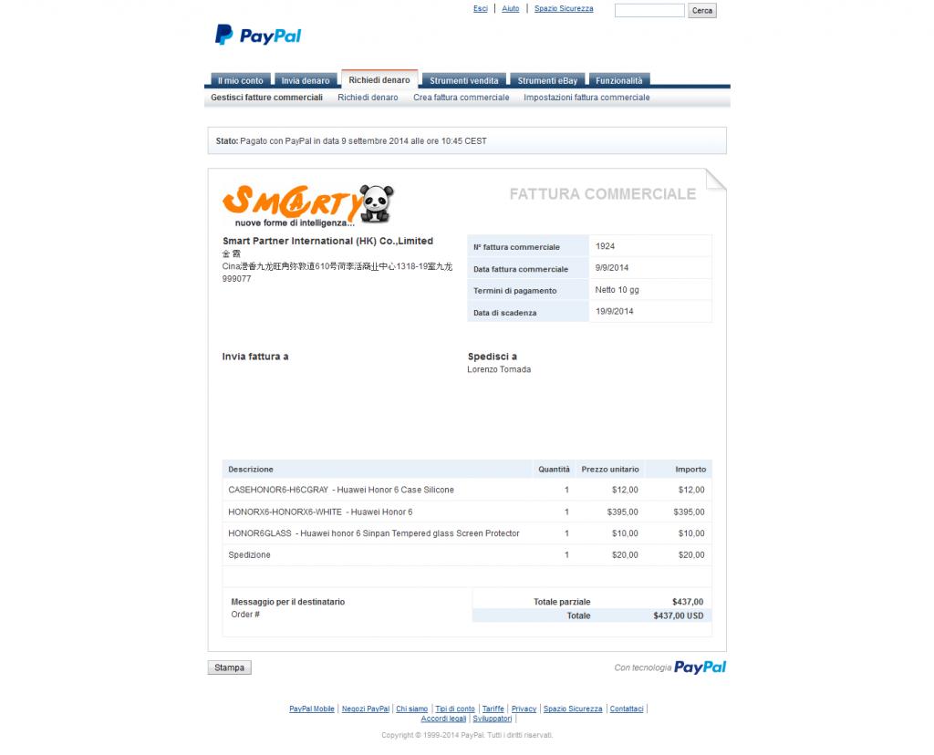 Honor6-acquisto-dettagli_fattura_commerciale_-_PayPal